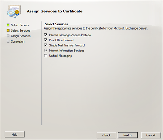 Exchange 2010 manages certificates through gui technet articles in the select servers window select you server and click on next 4 select the services that you want to assign to your certificate yadclub Image collections