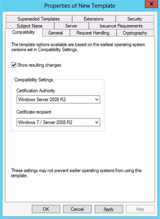 Windows Server 2012 Certificate Template Versions and Options – Computer Certificate Format