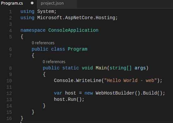 run WebHostBuilder