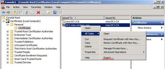 Export Server Auth Certificate