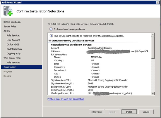 Active directory certificate services ad cs network device step 7 installation summary yelopaper Images