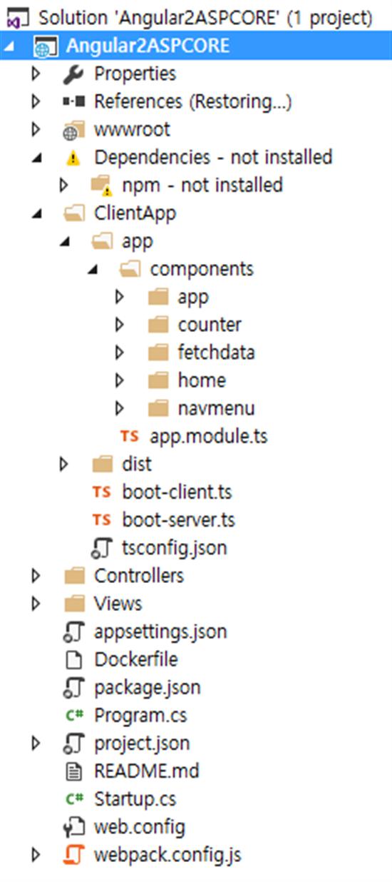 ASP.NET Core Angular 2 EF 1.0.1 Web API Using Template Pack