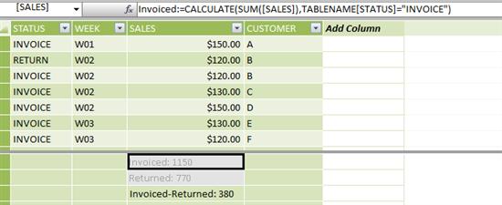 Power Pivot Excel DAX Invoice