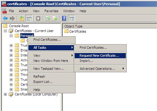 Active directory certificate services pki key archival and right click and choose all tasks and then select request new certificate yadclub Images