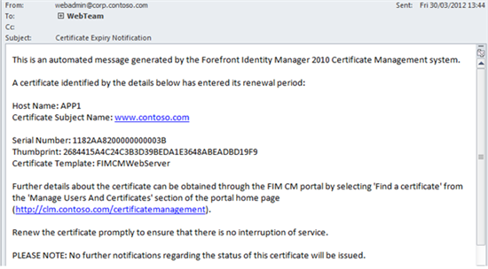 Using the fim cm 2010 notification api technet articles united if everything works successfully the result will be an e mail message similar to the one shown below yadclub Images