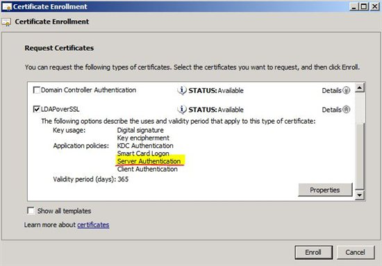 Selecting a certificate that supports Server Authentication