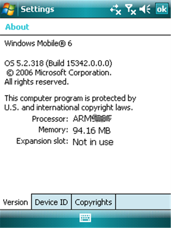 Windows Mobile 6 About Version