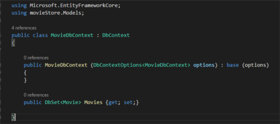 MovieDbContext class with constructor