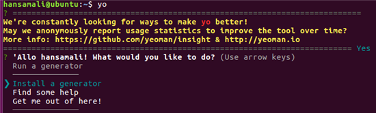 check whether Yeoman is installed properly