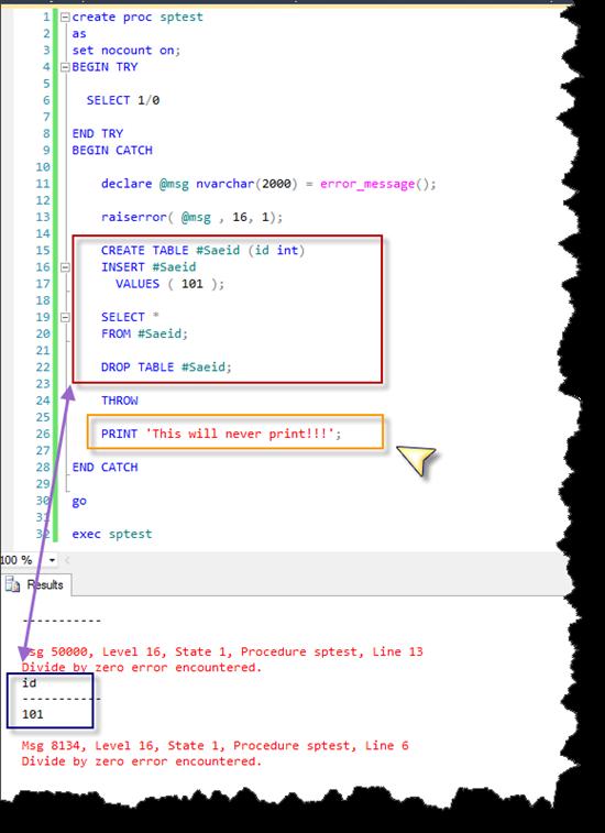 SQL Server 2012: Structured Error Handling Mechanism