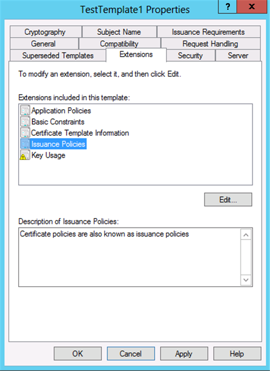 Windows server 2012 certificate template versions and options to utilize this feature issuance policies must be defined on the certificate template this can be done by editing the issuance policies in the extensions yelopaper