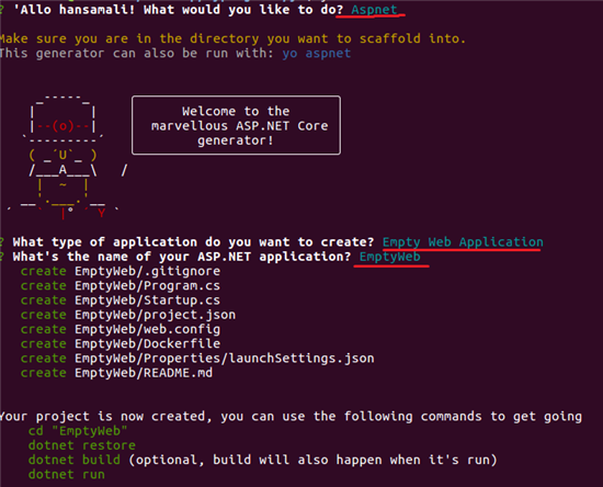 create empty web application using Yo