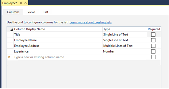 Add the columns that you want to be part of the list by specifying the list column  names.