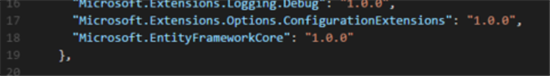 Add entityframeworkcore references into project.json file