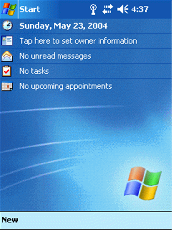 Windows Mobile 2003 SE Today Screen