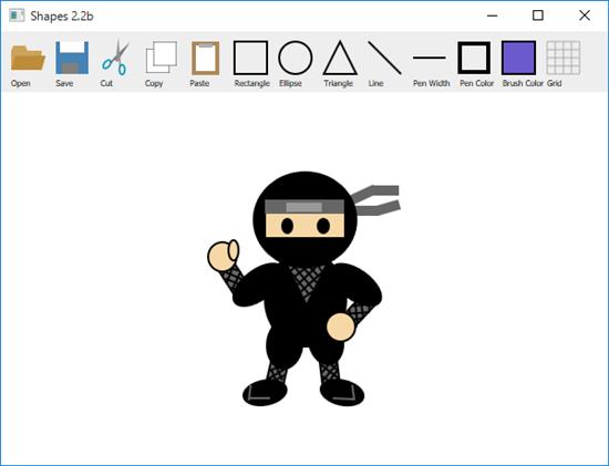 Screen shot of a program Shapes 2.2b with a ninja art
