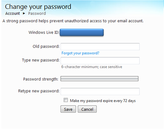 how to change microsoft to save password