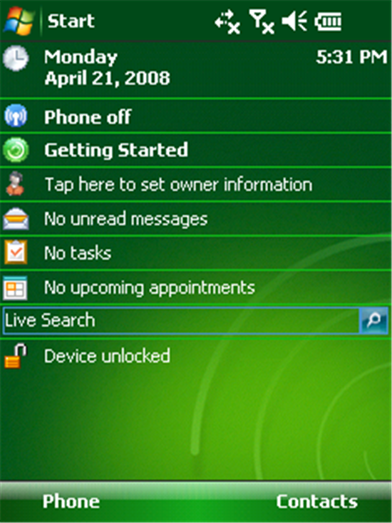 Windows Mobile 6.1 Today Screen