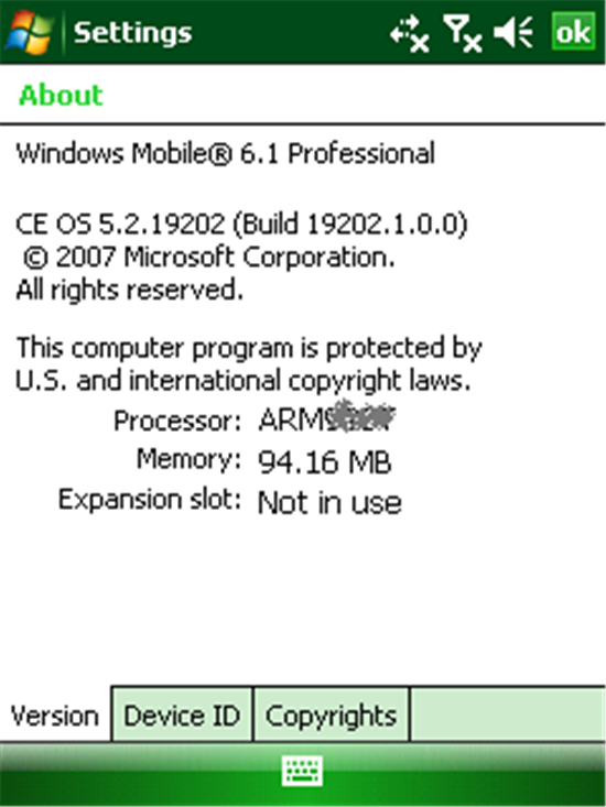 Windows Mobile 6.1 About Version