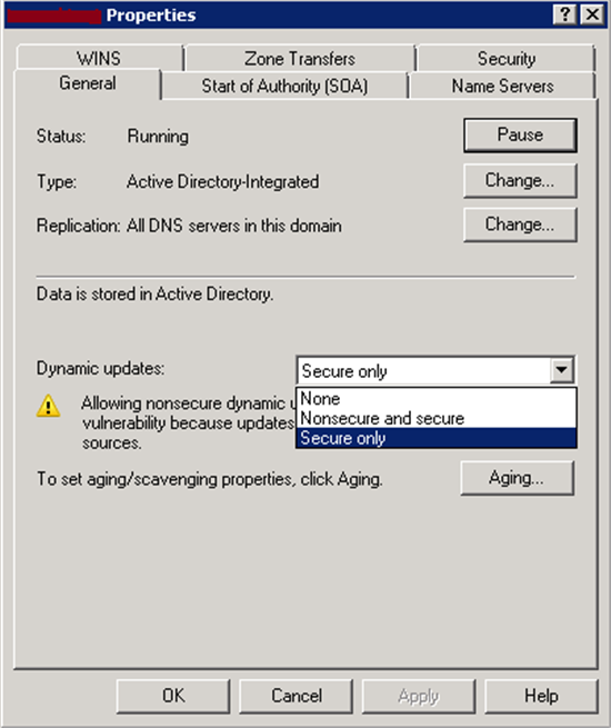 Dns not updating active directory