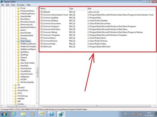 machine run machine user shell folders