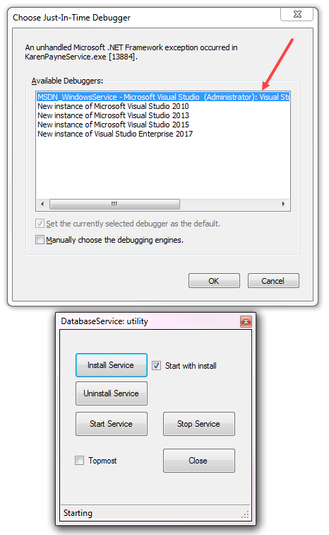 Windows Service developer GUI for install while in