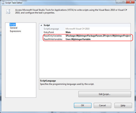 Use SSIS Variables and Parameters in a Script Task - TechNet
