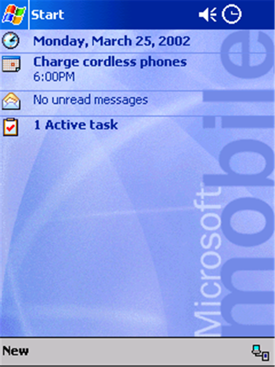 Pocket PC 2002 Today Screen