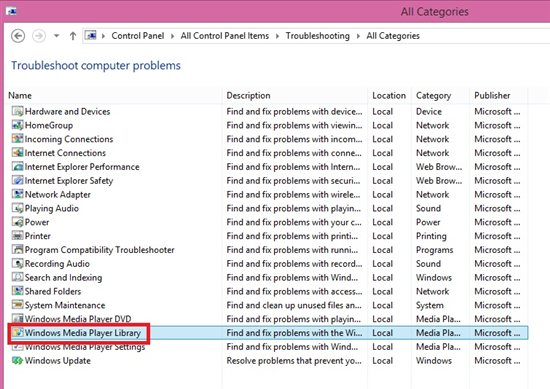 how to run troubleshooter in windows media player