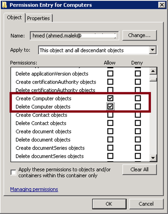 Read/write access to active directory