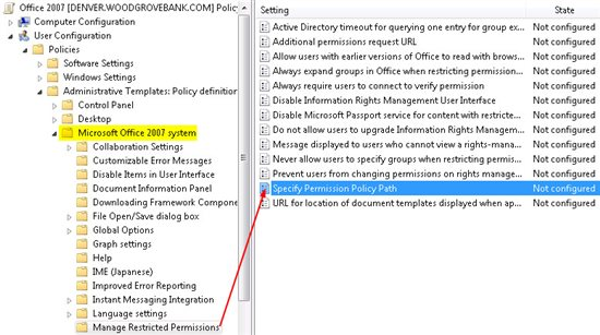 Office Group Policy Templates RMS Templates Managed By Group Policy AdminTemplatePath