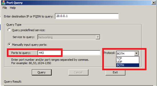 PortQueryUI – GUI tool that can be used for troubleshooting port