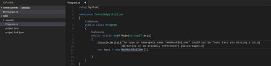 Initiate a WebHost Builder object