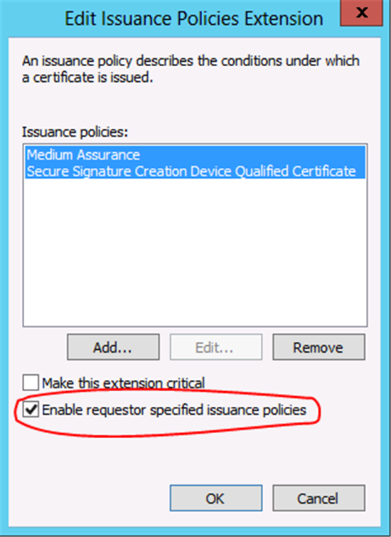 Windows server 2012 certificate template versions and options by selecting enable requestor specified issuance policies the administrator is allowing the certificate client to specify one or more of the available yadclub Choice Image