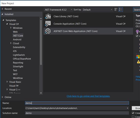 Create .NETCore web application from Visual Studio