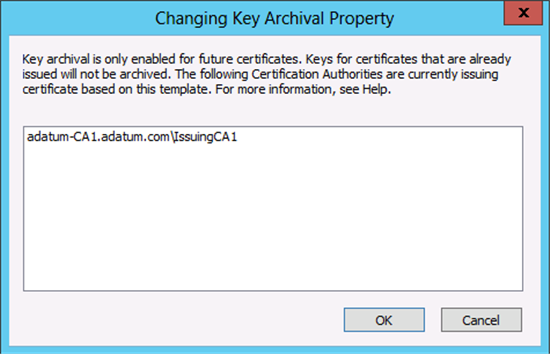 Active directory certificate services pki key archival and keys for certificates that are already issued will not be archived the following certification authorities are currently issuing certificates based on this yelopaper Images