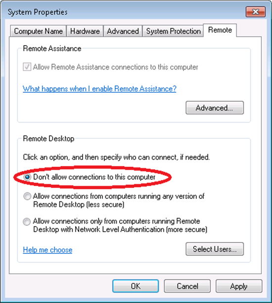 Remotely Disable Remote Desktop on a Windows 7 System
