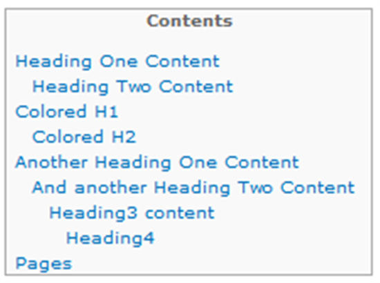how table of contents look ike Of course you can create a table of contents manually, but it may be  you can  look through the code to get an overview, but the loop looks like.