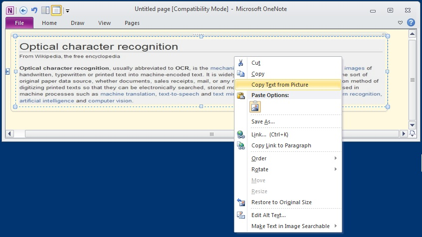 OneNote Optical Character Recognition