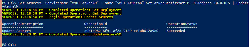 Azure: Allocate Static IP to VMs within a Virtual Network