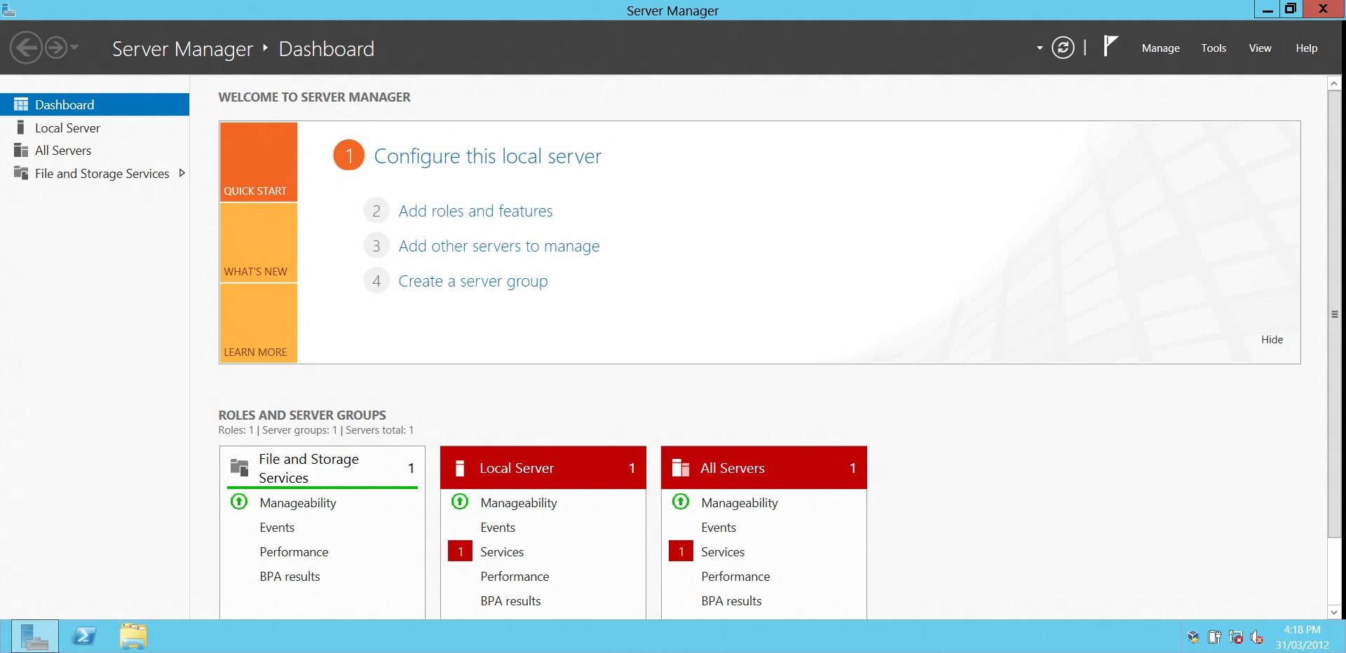 server manager in windows server 8