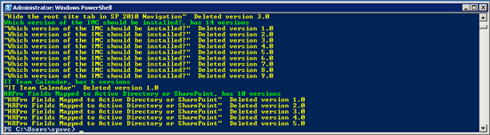 SharePoint 2010: List and Delete List Item Versions using PowerShell