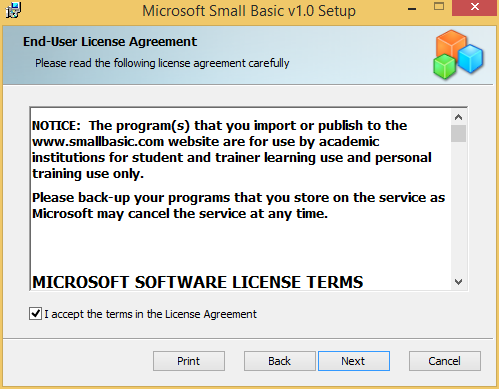 How to install small basic 10 onto windows 81 technet articles 4 check eula ccuart Image collections