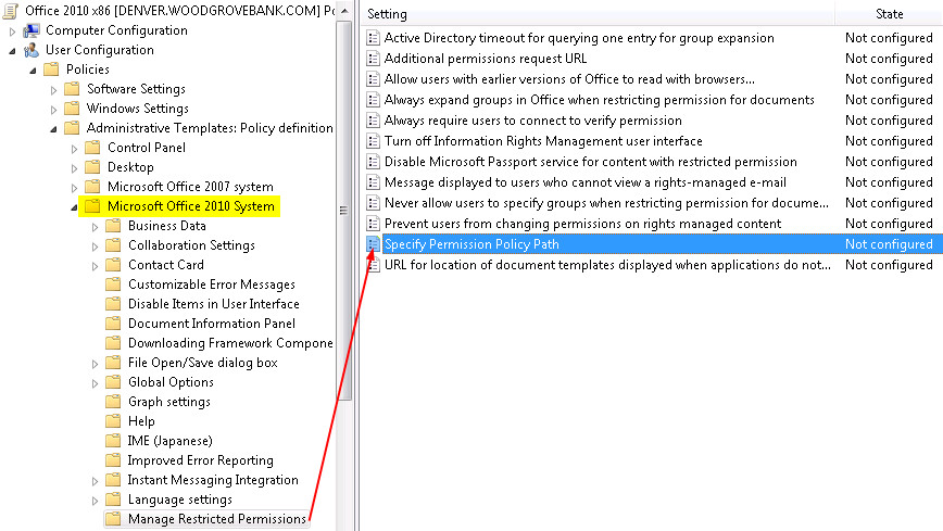 rms templates managed by group policy admintemplatepath
