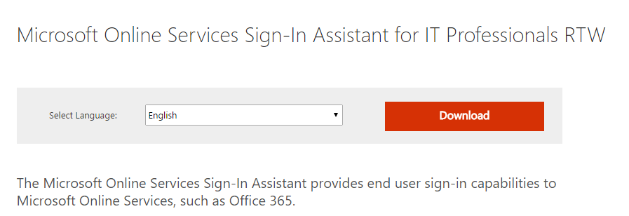 microsoft online services sign-in assistant for it professionals download