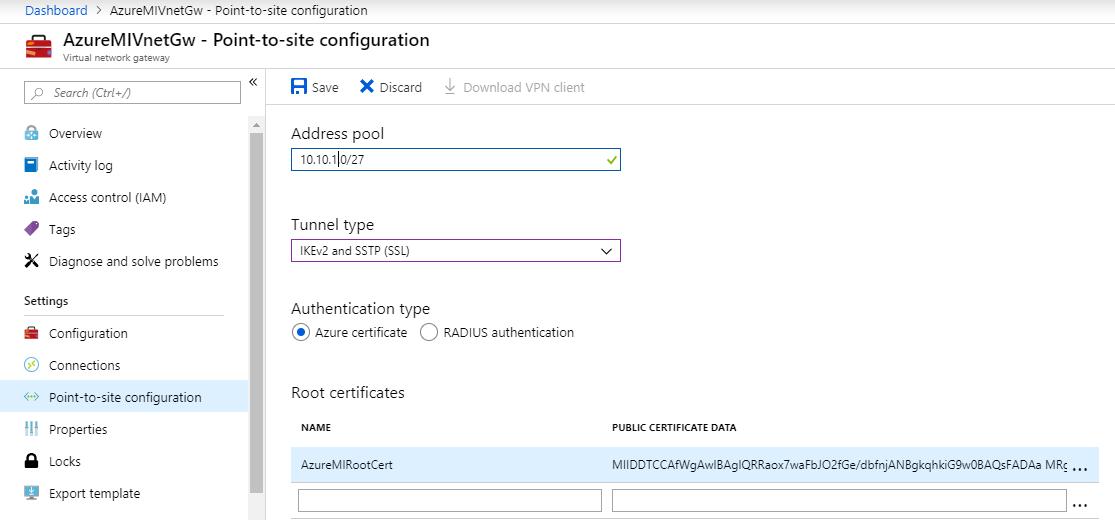 Azure Managed Instance: Configure P2S VPN Using Certificates