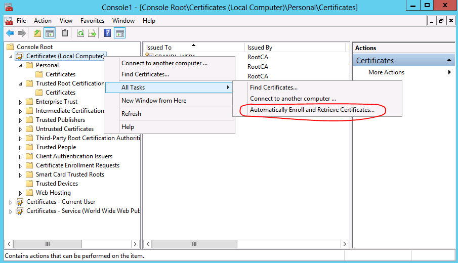 How to Use the Certificates Console - TechNet Articles