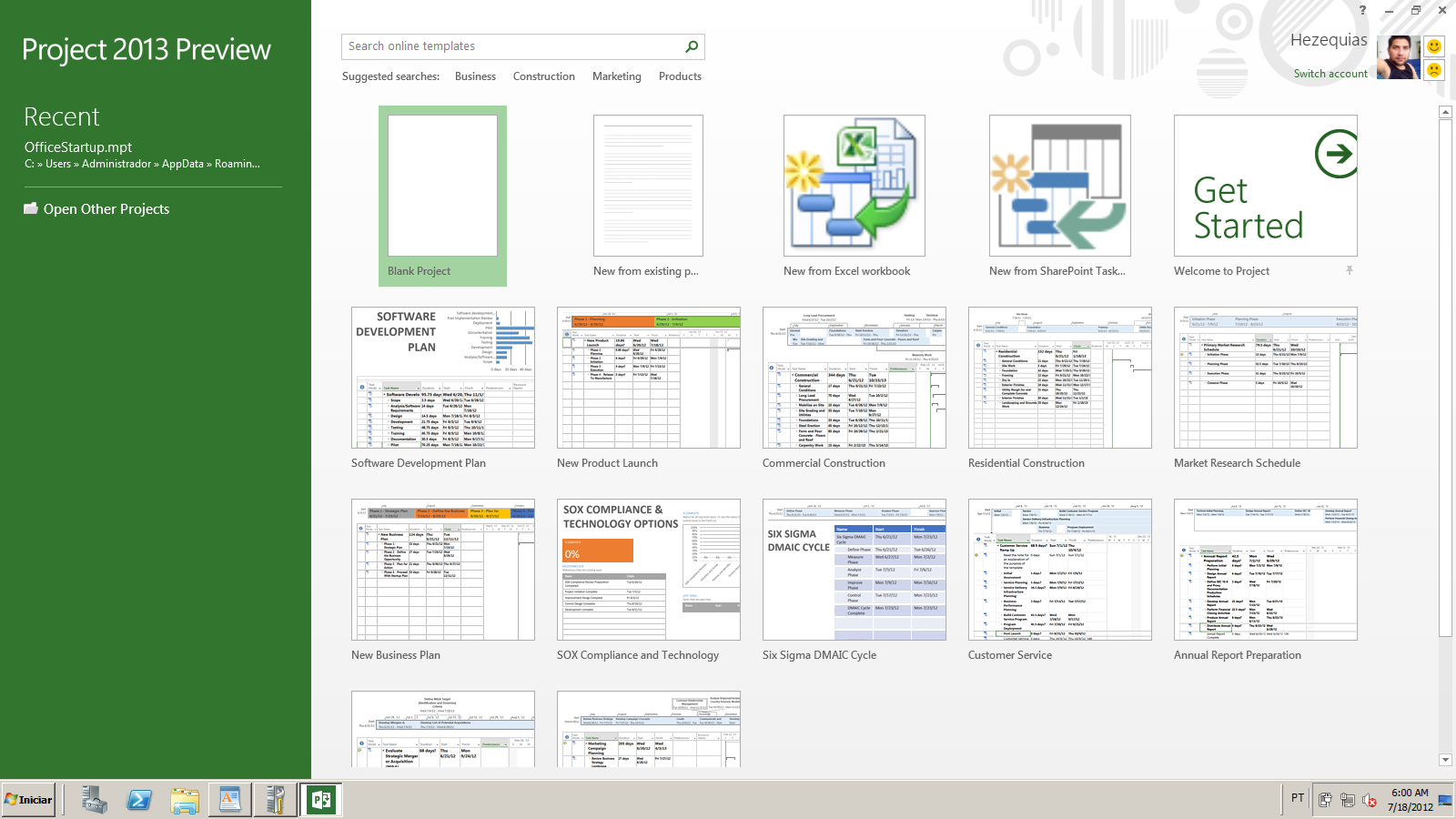 Project professional 2013 processo de instalao pt br artigos ao executar o programa pela primeira vez clique duplo sobre a opo new project novo projeto baditri Choice Image