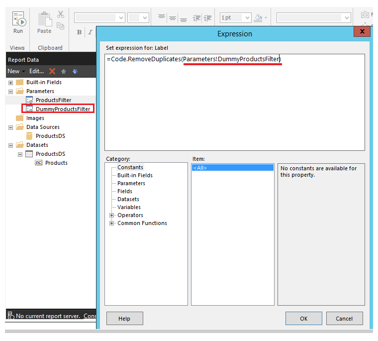 SSRS: Remove Duplicate Filter Values from Parameter Drop-down using