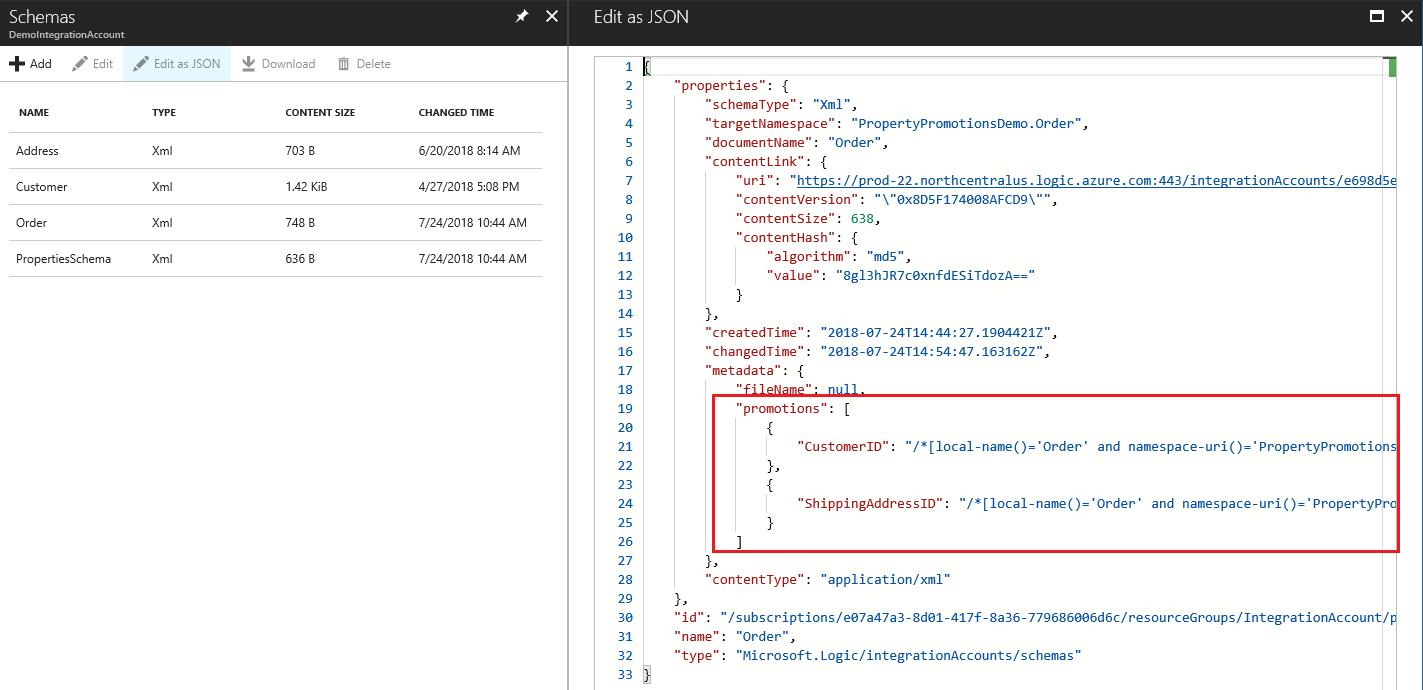 Content-based message routing using schema metadata in Azure
